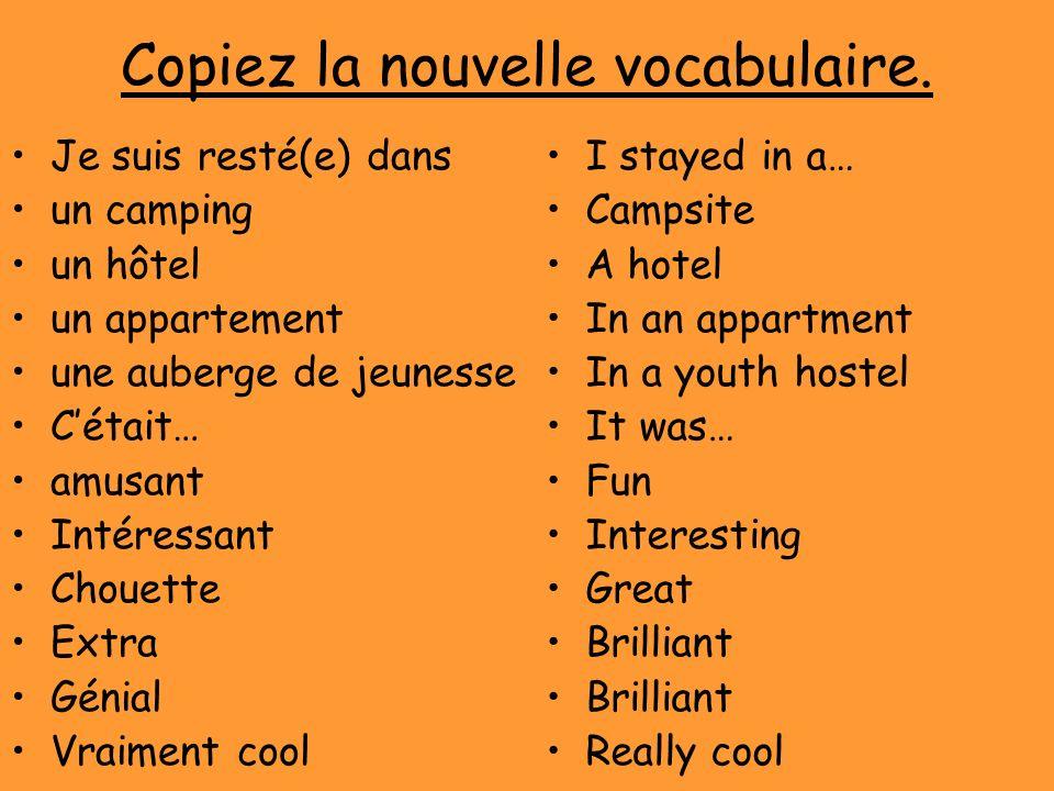 Copiez la nouvelle vocabulaire. Je suis resté(e) dans un camping un hôtel un appartement une auberge de jeunesse Cétait… amusant Intéressant Chouette