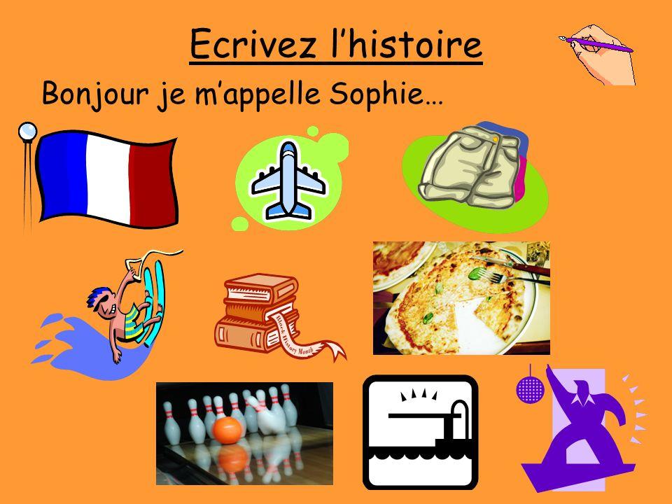 Ecrivez lhistoire Bonjour je mappelle Sophie…