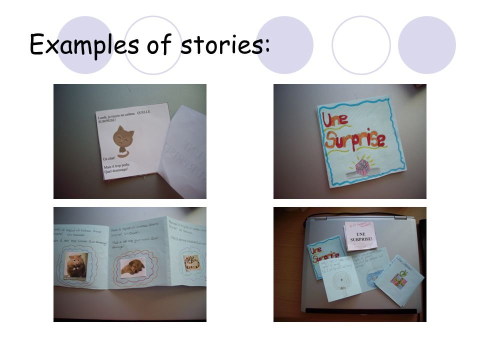 Examples of stories: