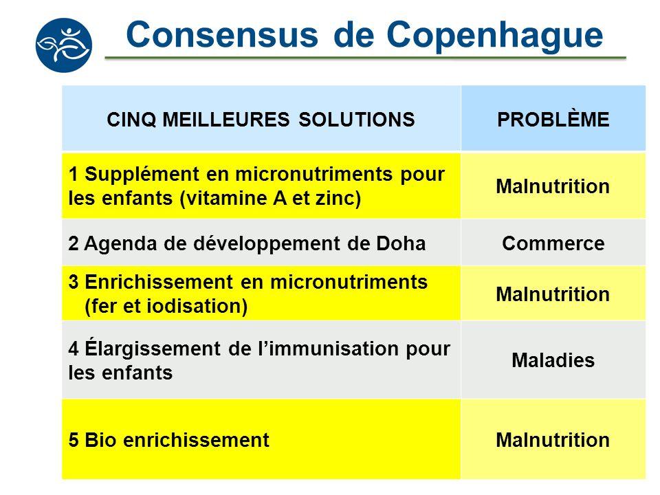 Consensus de Copenhague CINQ MEILLEURES SOLUTIONSPROBLÈME 1 Supplément en micronutriments pour les enfants (vitamine A et zinc) Malnutrition 2 Agenda
