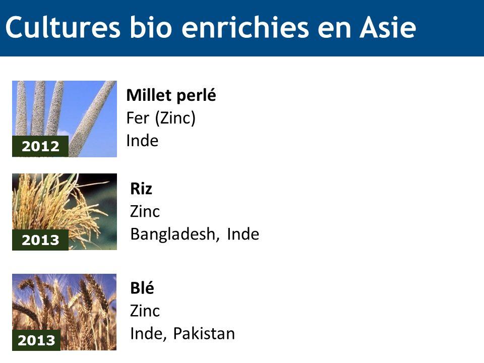 Cultures bio enrichies en Asie 2012 Millet perlé Fer (Zinc) Inde 2013 Riz Zinc Bangladesh, Inde 2013 Blé Zinc Inde, Pakistan