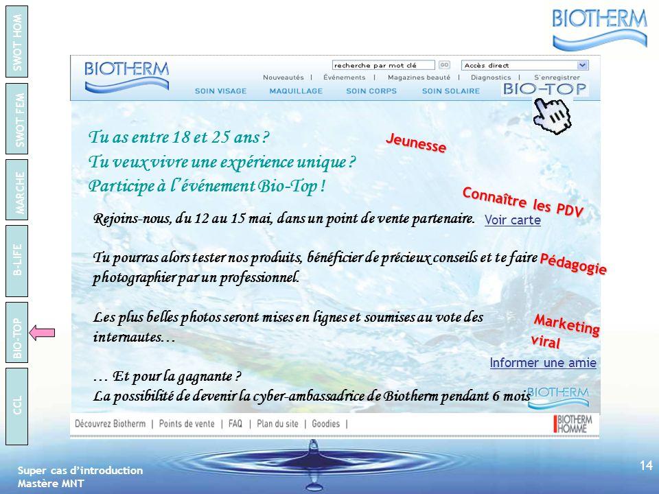 Super cas dintroduction Mastère MNT SWOT HOM SWOT FEM B-LIFE BIO-TOP CCL MARCHE 13 BIO-TOP Objectifs Le concept Inciter les internautes à se déplacer