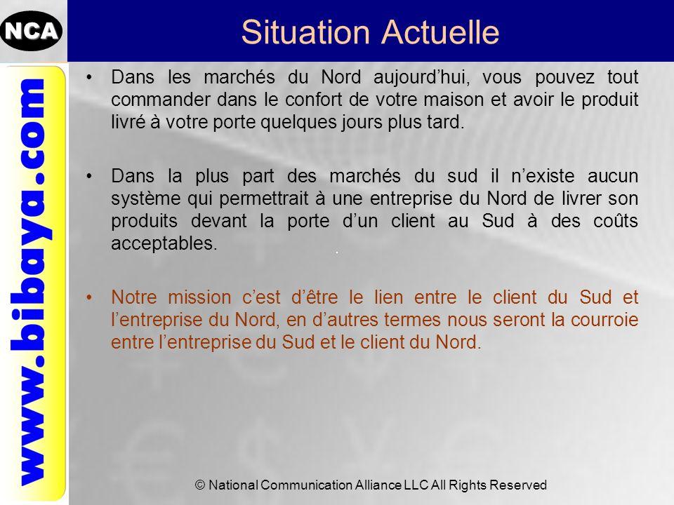 NCA © National Communication Alliance LLC All Rights Reserved Situation Actuelle Dans les marchés du Nord aujourdhui, vous pouvez tout commander dans