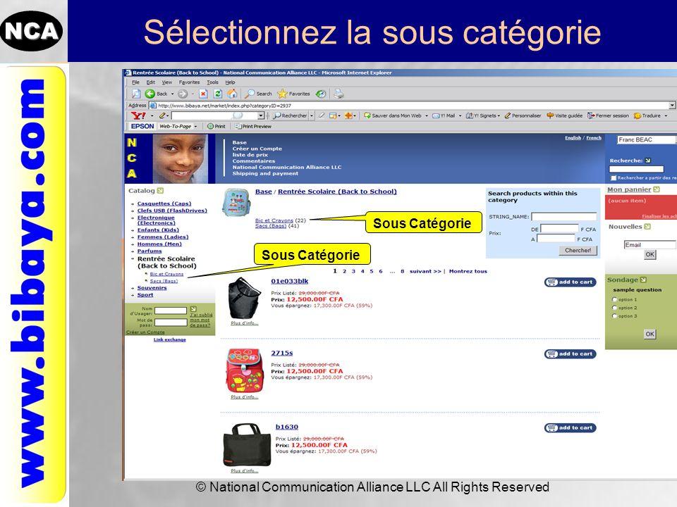 NCA © National Communication Alliance LLC All Rights Reserved Sélectionnez la sous catégorie Sous Catégorie