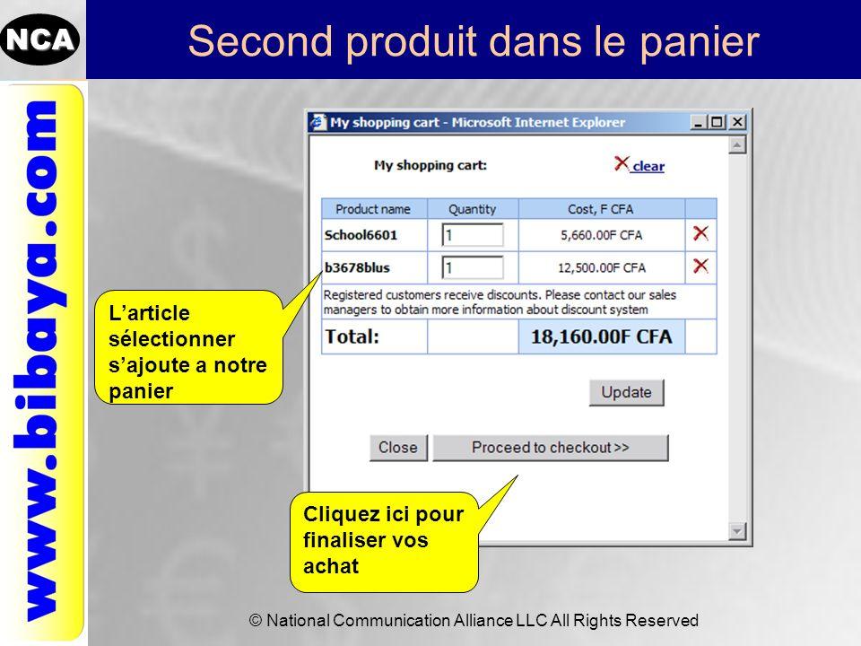 NCA © National Communication Alliance LLC All Rights Reserved Procéder a la cloture des achats Entrez votre nom usager et mot de passe ou crée un compte