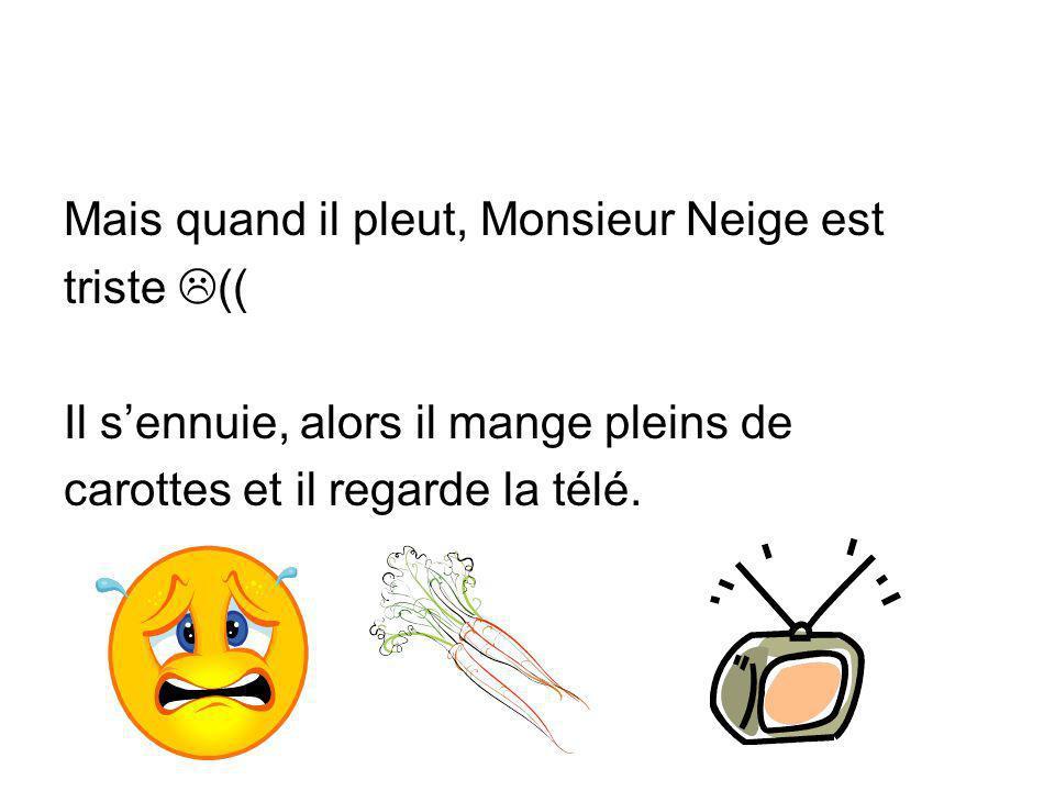 Mais quand il pleut, Monsieur Neige est triste (( Il sennuie, alors il mange pleins de carottes et il regarde la télé.