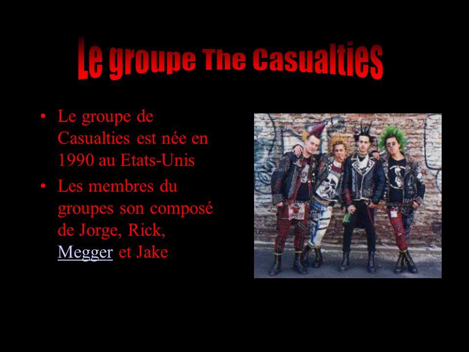 Le groupe de Casualties est née en 1990 au Etats-Unis Les membres du groupes son composé de Jorge, Rick, Megger et Jake Megger