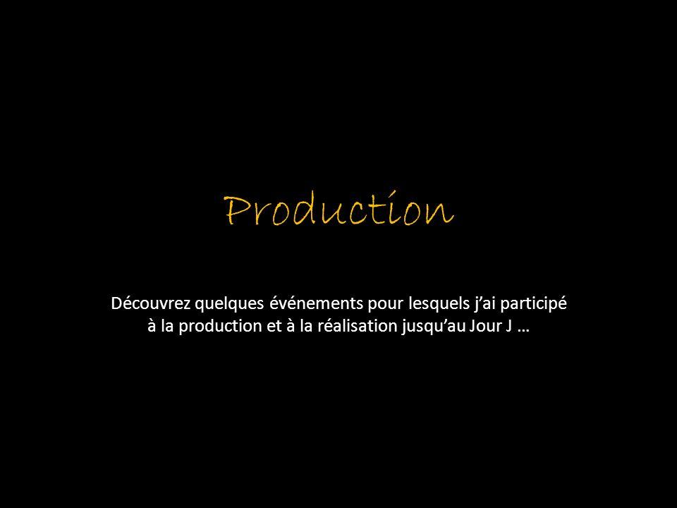 Production Découvrez quelques événements pour lesquels jai participé à la production et à la réalisation jusquau Jour J …
