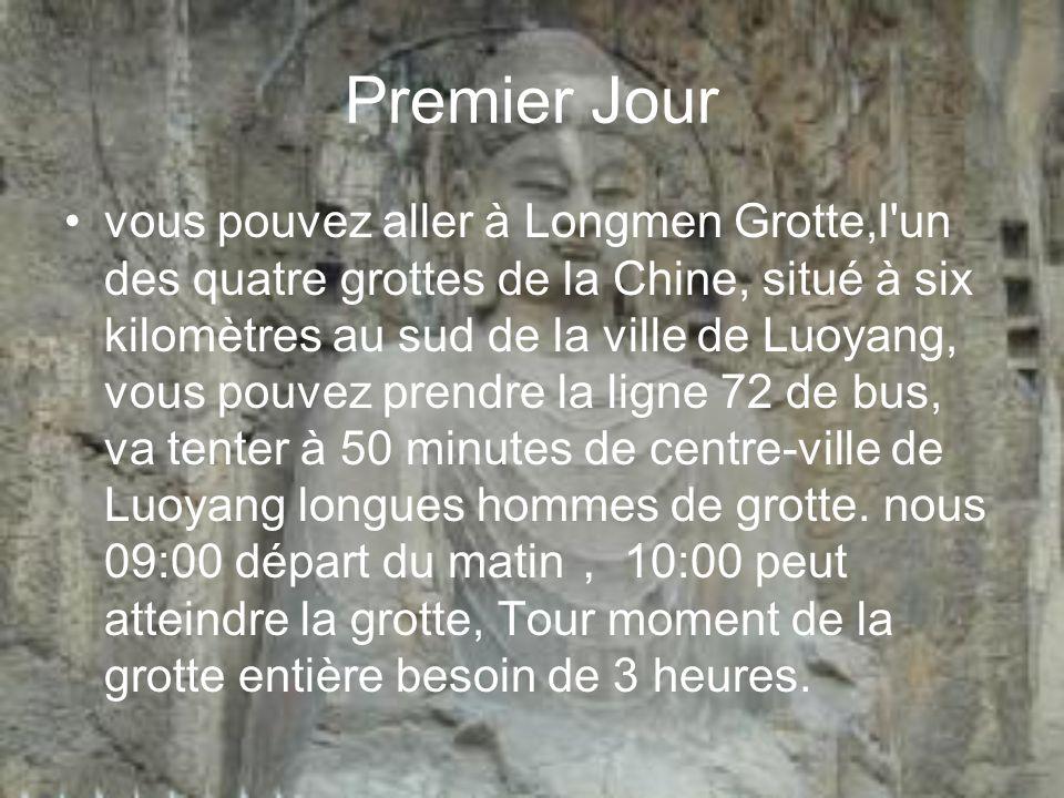 Premier Jour vous pouvez aller à Longmen Grotte,l'un des quatre grottes de la Chine, situé à six kilomètres au sud de la ville de Luoyang, vous pouvez