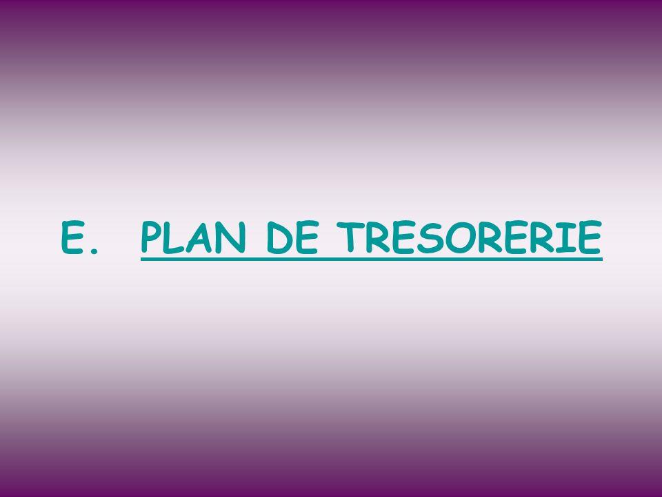 E.PLAN DE TRESORERIE