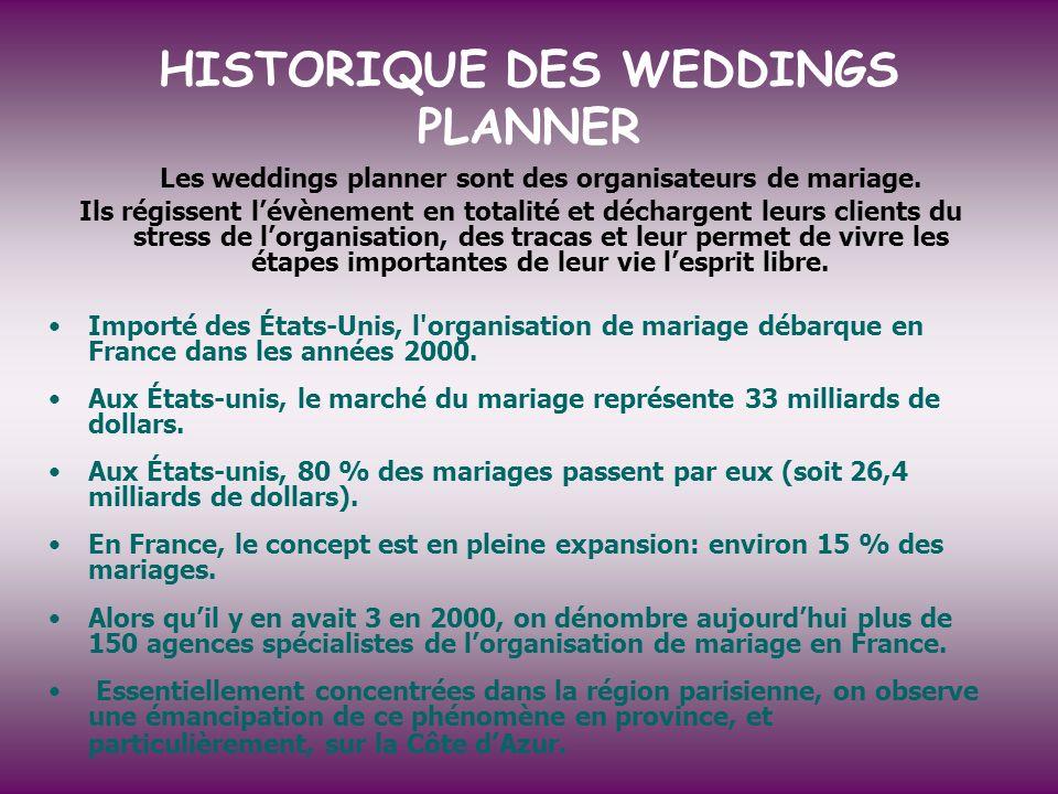 HISTORIQUE DES WEDDINGS PLANNER Les weddings planner sont des organisateurs de mariage. Ils régissent lévènement en totalité et déchargent leurs clien