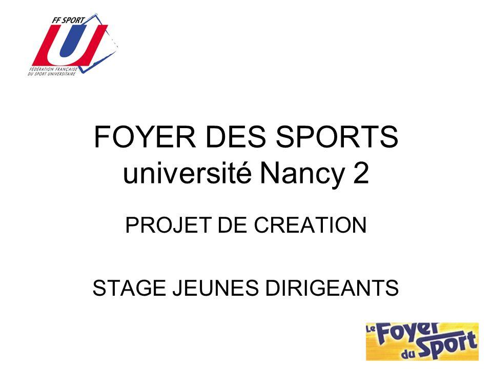 FOYER DES SPORTS université Nancy 2 PROJET DE CREATION STAGE JEUNES DIRIGEANTS