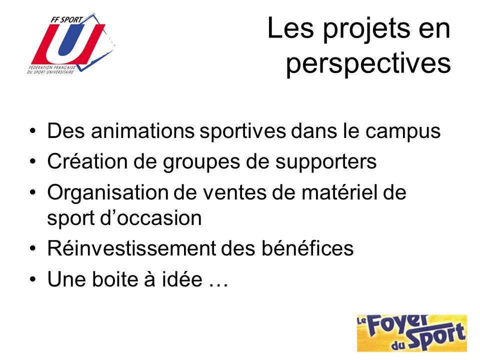 Les projets en perspectives Des animations sportives dans le campus Création de groupes de supporters Organisation de ventes de matériel de sport docc