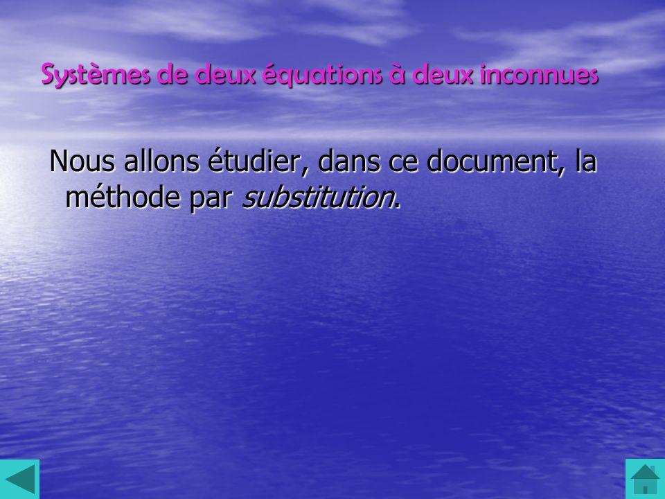 Systèmes de deux équations à deux inconnues Nous allons étudier, dans ce document, la méthode par substitution.