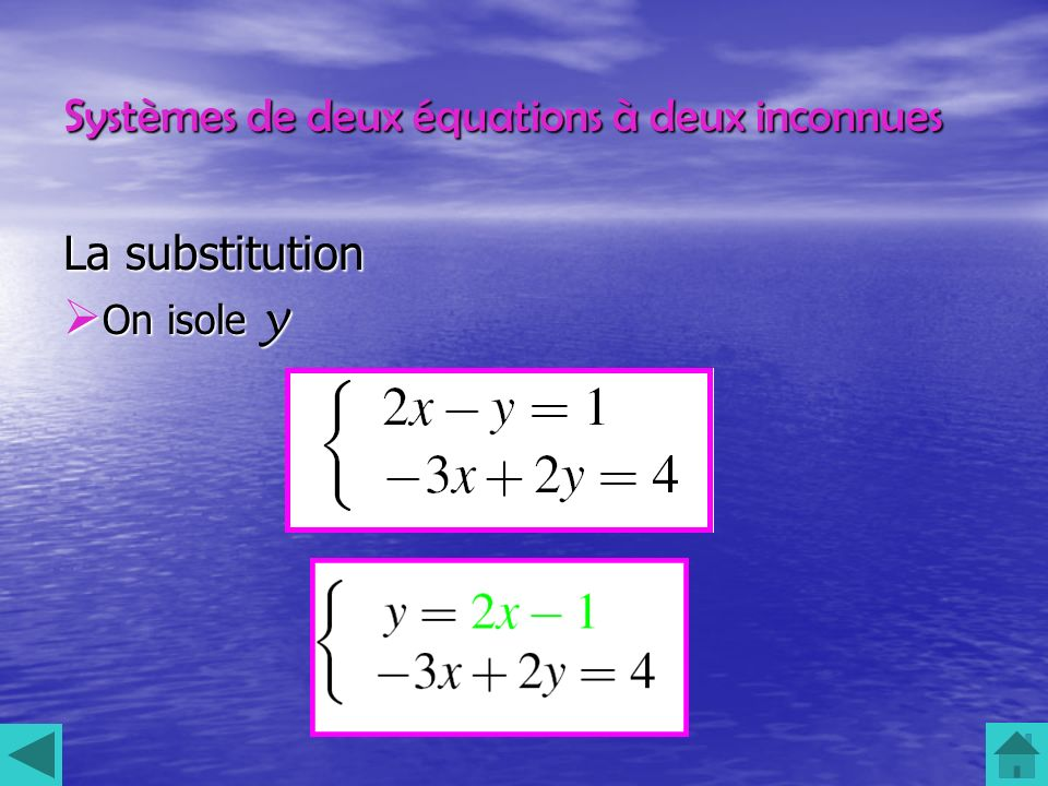 Systèmes de deux équations à deux inconnues La substitution On isole y On isole y