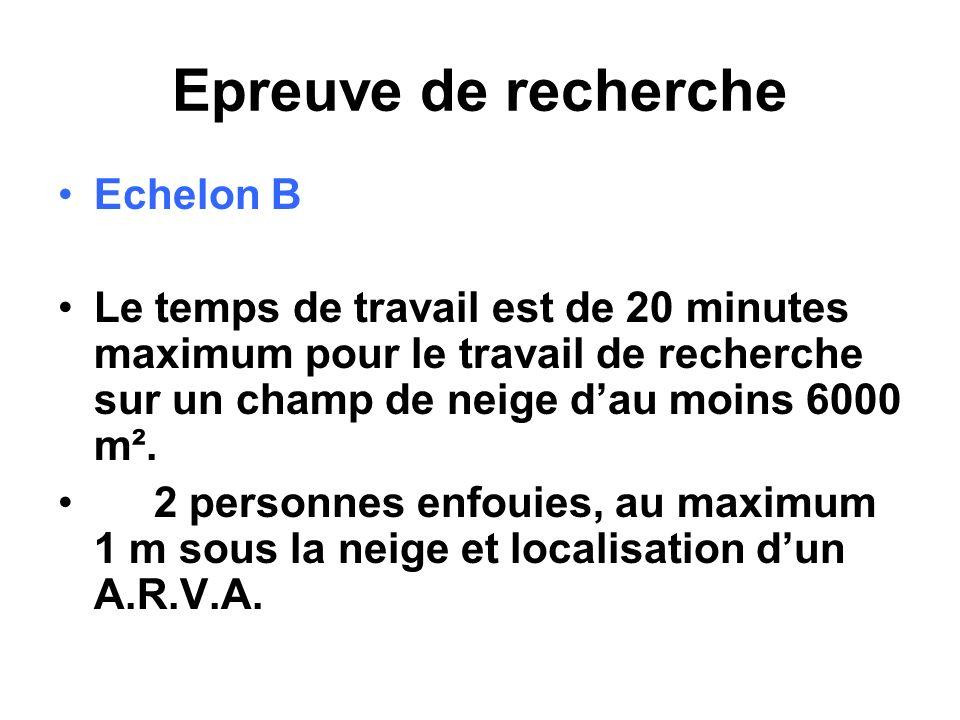 Epreuve de recherche Echelon B Le temps de travail est de 20 minutes maximum pour le travail de recherche sur un champ de neige dau moins 6000 m². 2 p