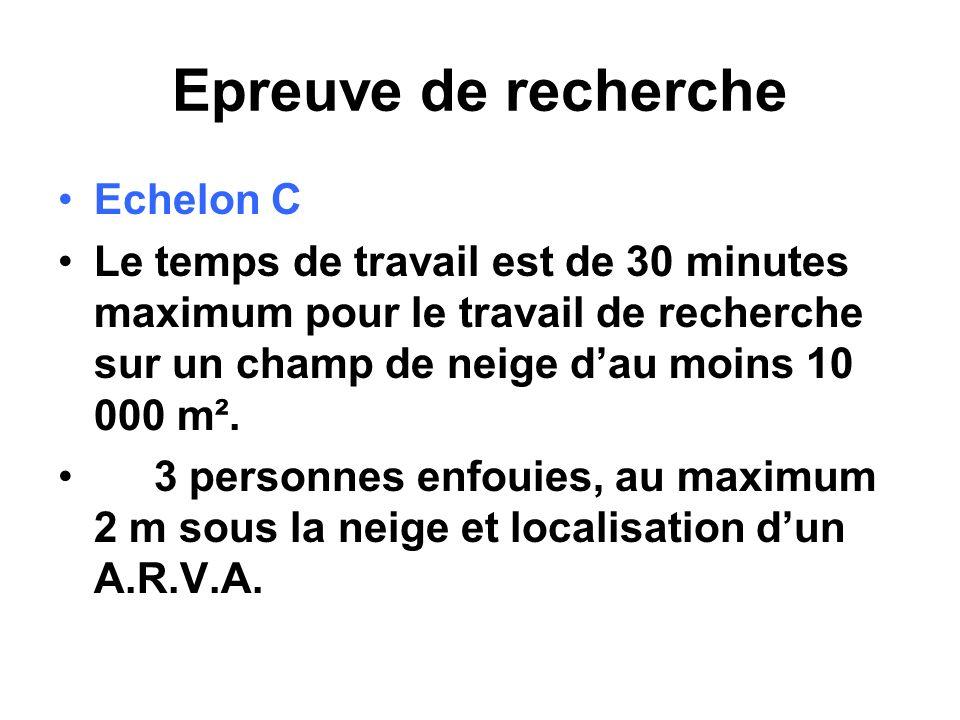 Epreuve de recherche Echelon C Le temps de travail est de 30 minutes maximum pour le travail de recherche sur un champ de neige dau moins 10 000 m². 3