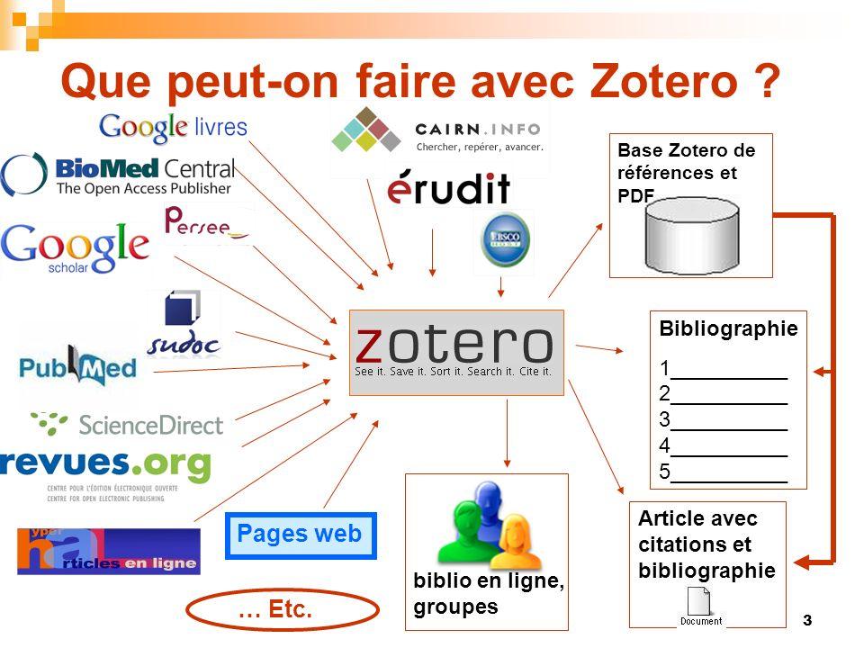 84 Utiliser Zotero en ligne Création de groupes privés ou publics / interaction avec les bibliothèques propres à des groupes définis Réseaux de personnes Intégration de groupes publics et / ou suivi de bibliothèques publiques par flux RSS