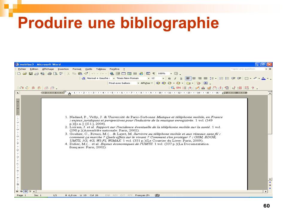 60 Produire une bibliographie