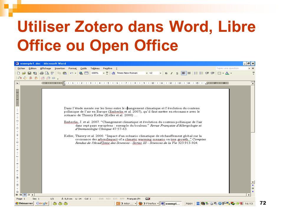 72 Utiliser Zotero dans Word, Libre Office ou Open Office