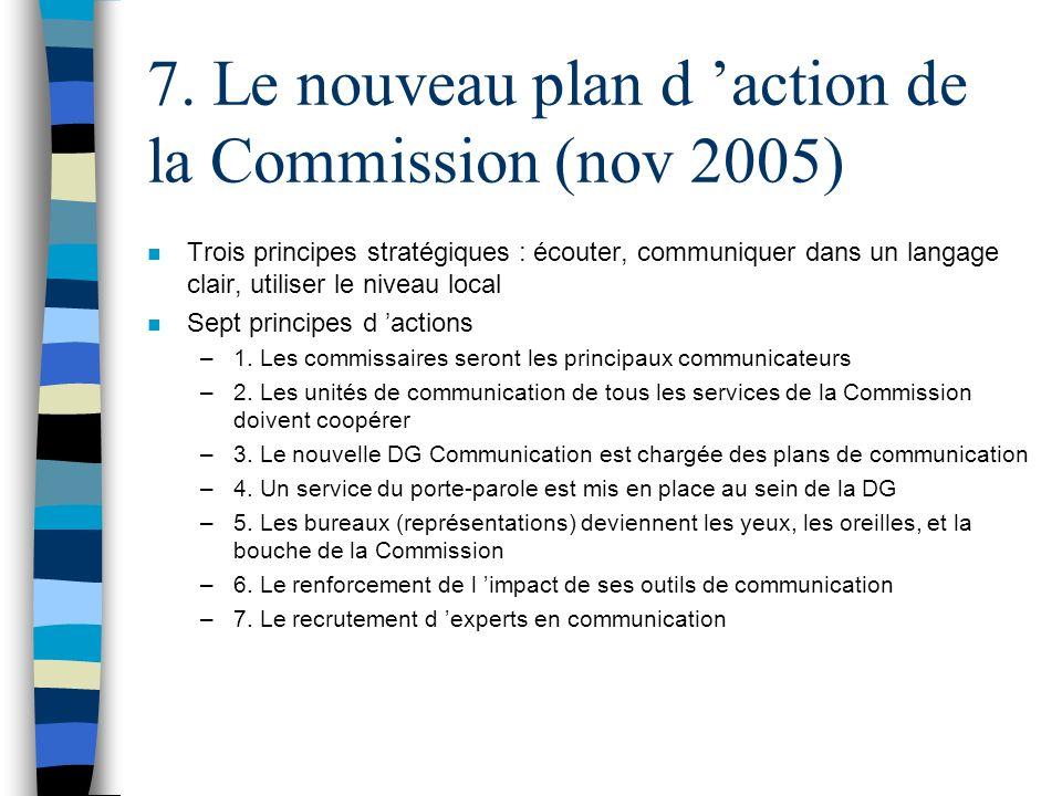 7. Le nouveau plan d action de la Commission (nov 2005) n Trois principes stratégiques : écouter, communiquer dans un langage clair, utiliser le nivea