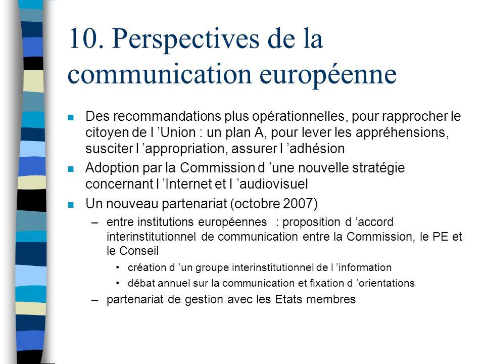 10. Perspectives de la communication européenne n Des recommandations plus opérationnelles, pour rapprocher le citoyen de l Union : un plan A, pour le