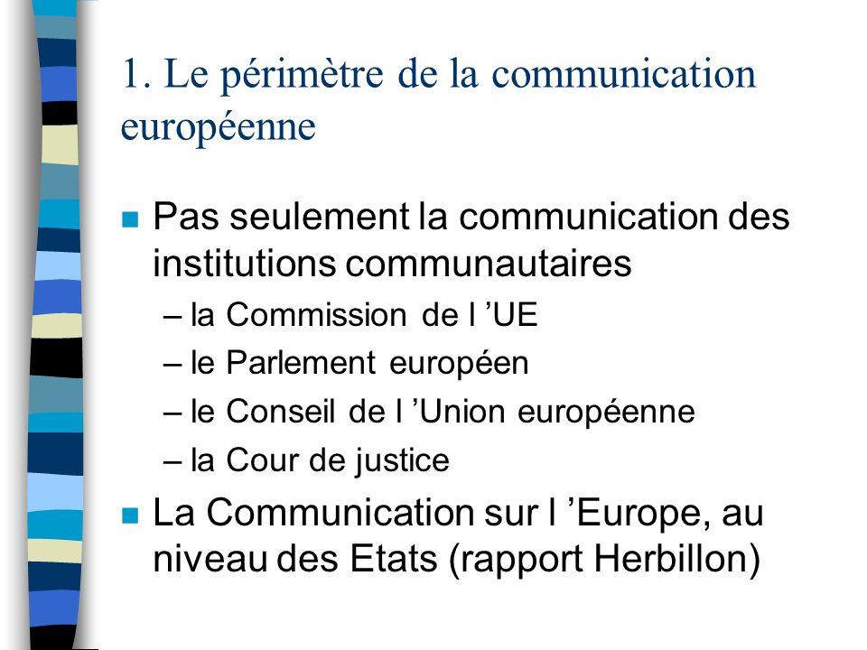 1. Le périmètre de la communication européenne n Pas seulement la communication des institutions communautaires –la Commission de l UE –le Parlement e