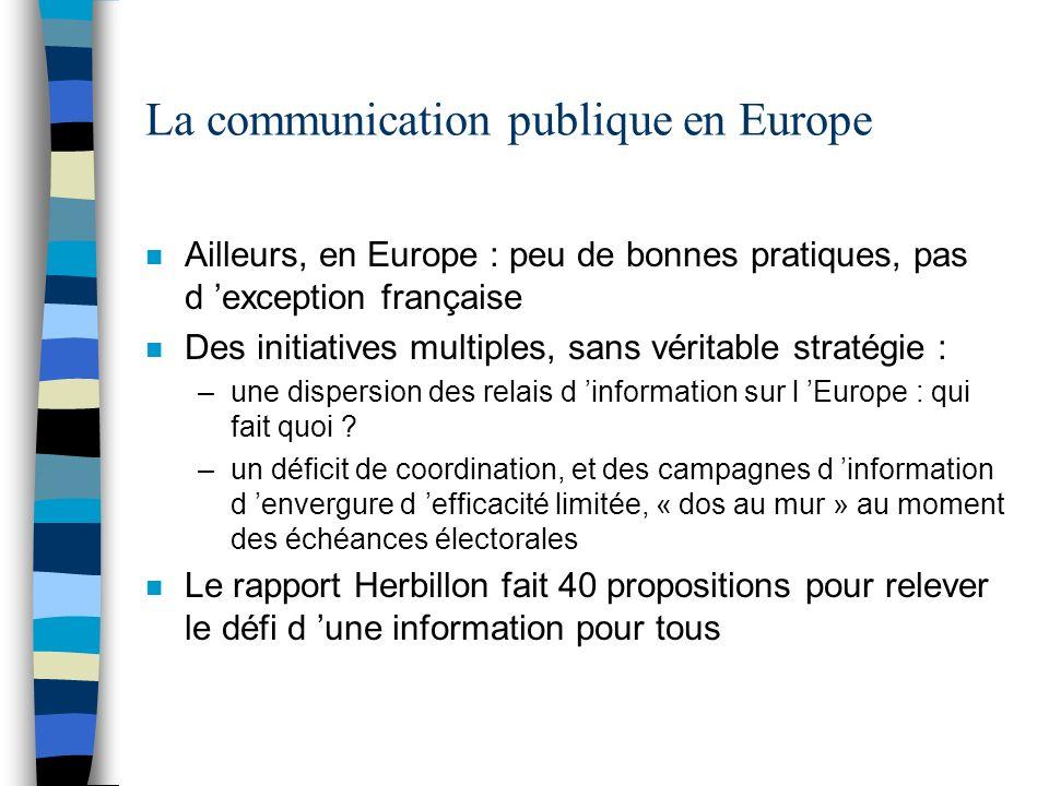 La communication publique en Europe n Ailleurs, en Europe : peu de bonnes pratiques, pas d exception française n Des initiatives multiples, sans vérit