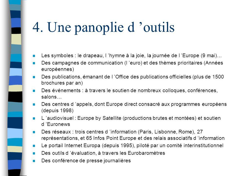 4. Une panoplie d outils n Les symboles : le drapeau, l hymne à la joie, la journée de l Europe (9 mai)… n Des campagnes de communication (l euro) et