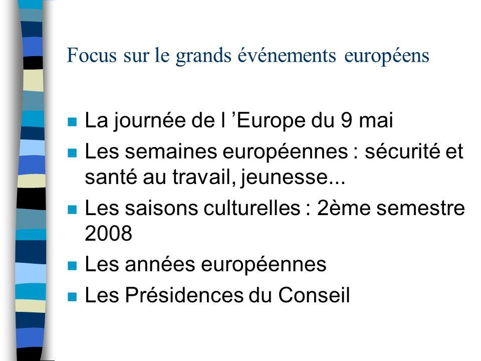 Focus sur le grands événements européens n La journée de l Europe du 9 mai n Les semaines européennes : sécurité et santé au travail, jeunesse... n Le