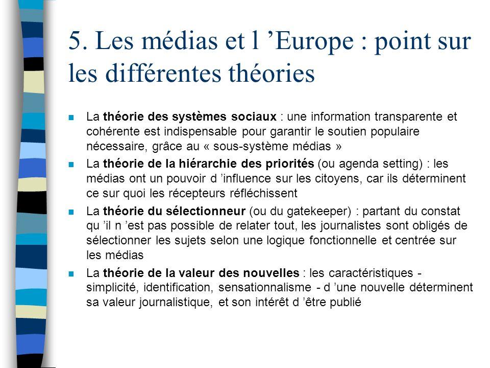 5. Les médias et l Europe : point sur les différentes théories n La théorie des systèmes sociaux : une information transparente et cohérente est indis