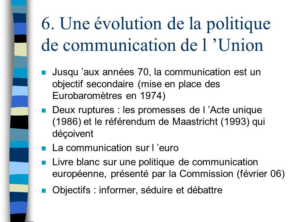 6. Une évolution de la politique de communication de l Union n Jusqu aux années 70, la communication est un objectif secondaire (mise en place des Eur