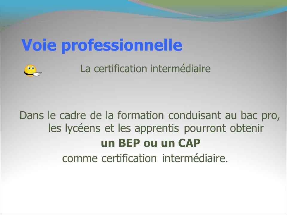 Voie professionnelle La certification intermédiaire Dans le cadre de la formation conduisant au bac pro, les lycéens et les apprentis pourront obtenir
