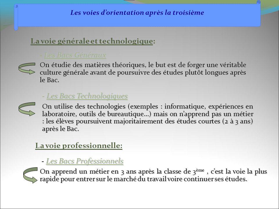 Les Bacs Technologiques - Les Bacs Technologiques On utilise des technologies (exemples : informatique, expériences en laboratoire, outils de bureauti