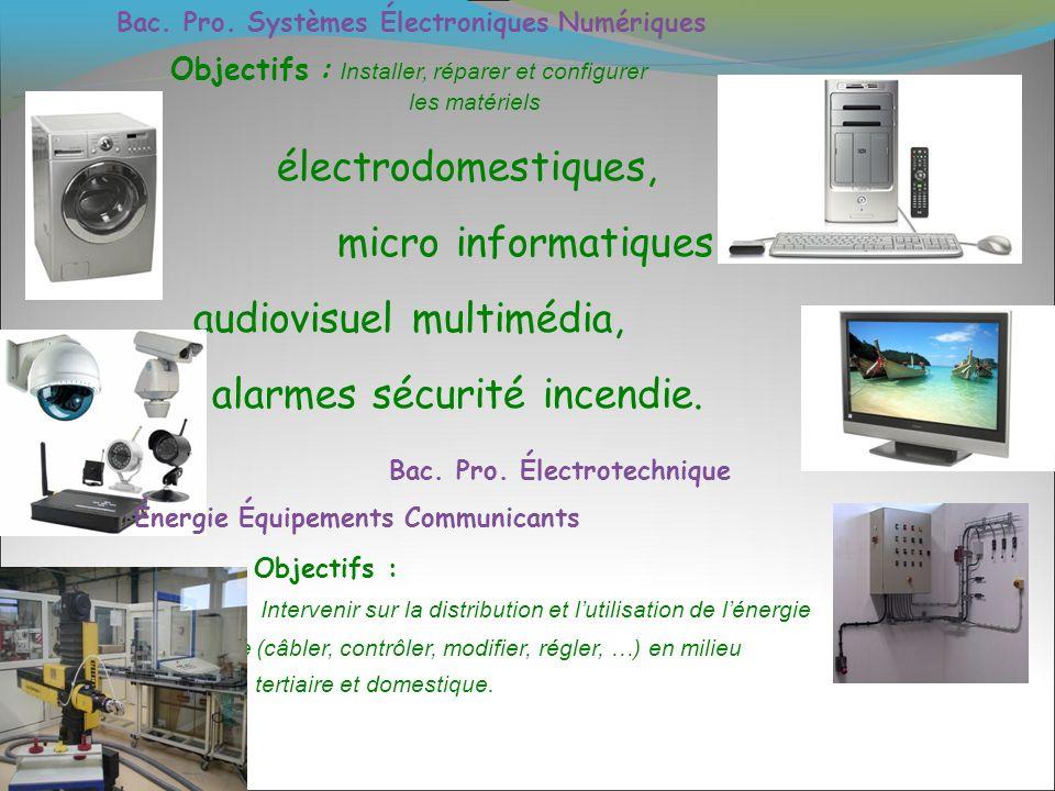 Bac. Pro. Systèmes Électroniques Numériques Objectifs : Installer, réparer et configurer les matériels électrodomestiques, micro informatiques, audiov