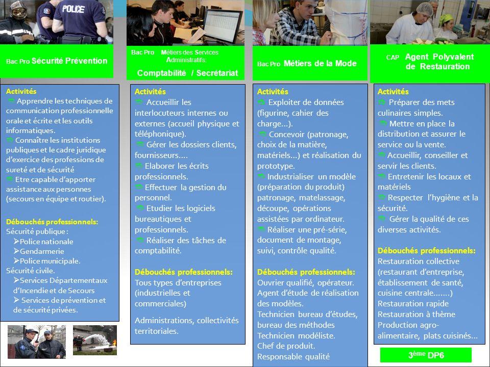 Bac Pro Sécurité Prévention Bac Pro Métiers des Services A dministratifs: Comptabilité / Secrétariat Activités Apprendre les techniques de communicati