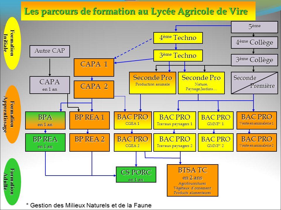 Les parcours de formation au Lycée Agricole de Vire FormationInitiale FormationApprentissage FormationAdulte Autre CAP 4 ème Techno 4 ème Collège 5 èm
