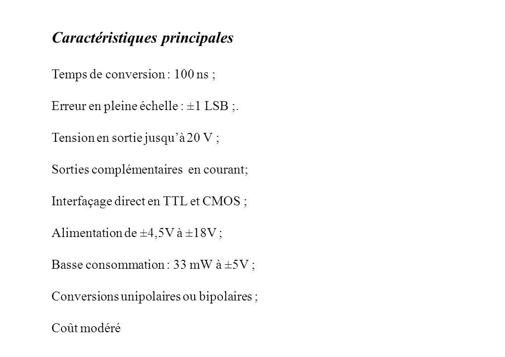 Caractéristiques principales Temps de conversion : 100 ns ; Erreur en pleine échelle : ±1 LSB ;.