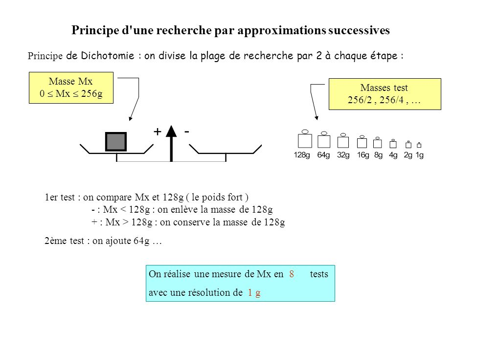 Principe d une recherche par approximations successives Principe de Dichotomie : on divise la plage de recherche par 2 à chaque étape : Masse Mx 0 Mx 256g Masses test 256/2, 256/4, … 1er test : on compare Mx et 128g ( le poids fort ) - : Mx 128g : on conserve la masse de 128g 2ème test : on ajoute 64g … On réalise une mesure de Mx en 8 tests avec une résolution de 1 g