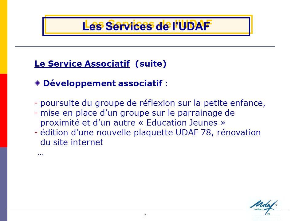 7 7 Les Services de lUDAF Le Service Associatif (suite) Développement associatif :  poursuite du groupe de réflexion sur la petite enfance,  mise en