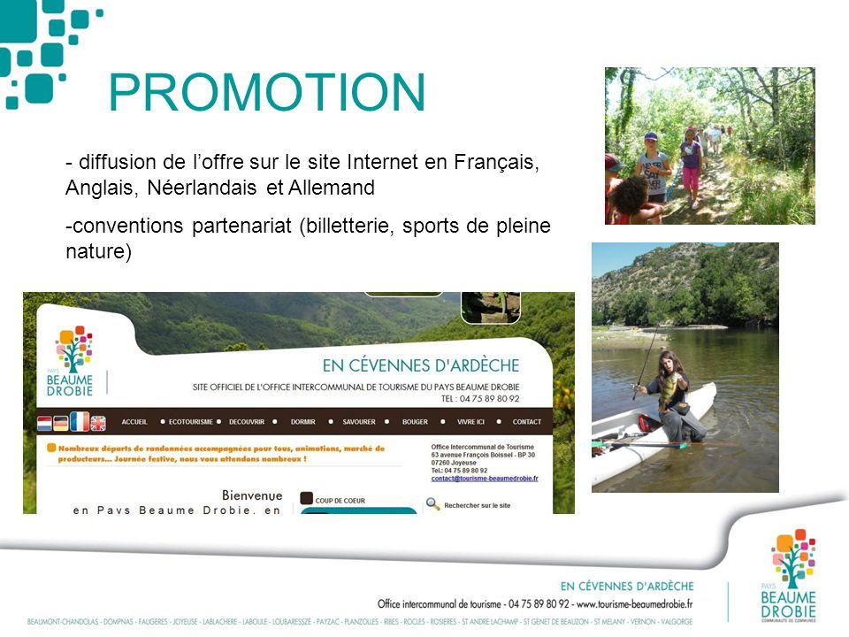 PROMOTION - diffusion de loffre sur le site Internet en Français, Anglais, Néerlandais et Allemand -conventions partenariat (billetterie, sports de pl