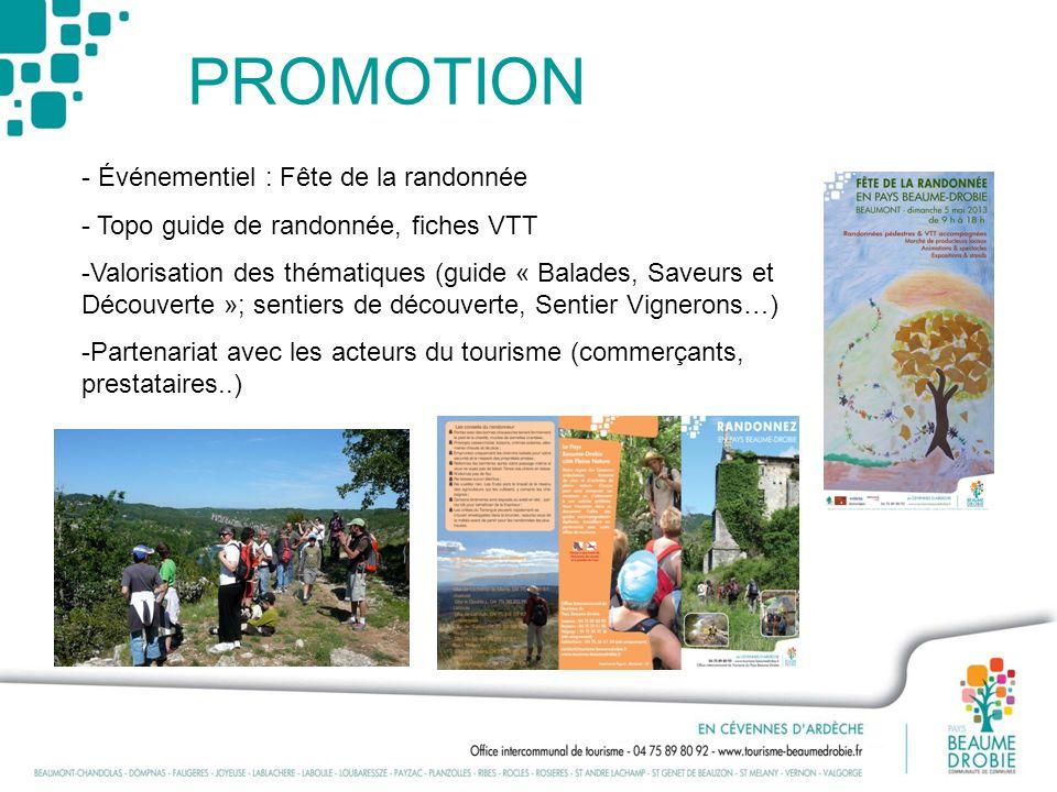 PROMOTION - Événementiel : Fête de la randonnée - Topo guide de randonnée, fiches VTT -Valorisation des thématiques (guide « Balades, Saveurs et Décou