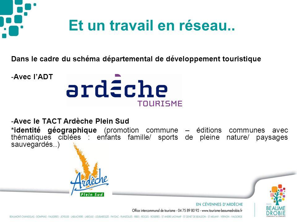 Et un travail en réseau.. Dans le cadre du schéma départemental de développement touristique -Avec lADT -Avec le TACT Ardèche Plein Sud *identité géog