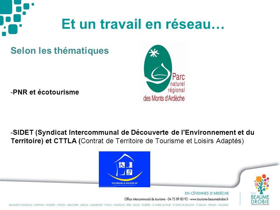 Et un travail en réseau… Selon les thématiques -PNR et écotourisme -SIDET (Syndicat Intercommunal de Découverte de l'Environnement et du Territoire) e