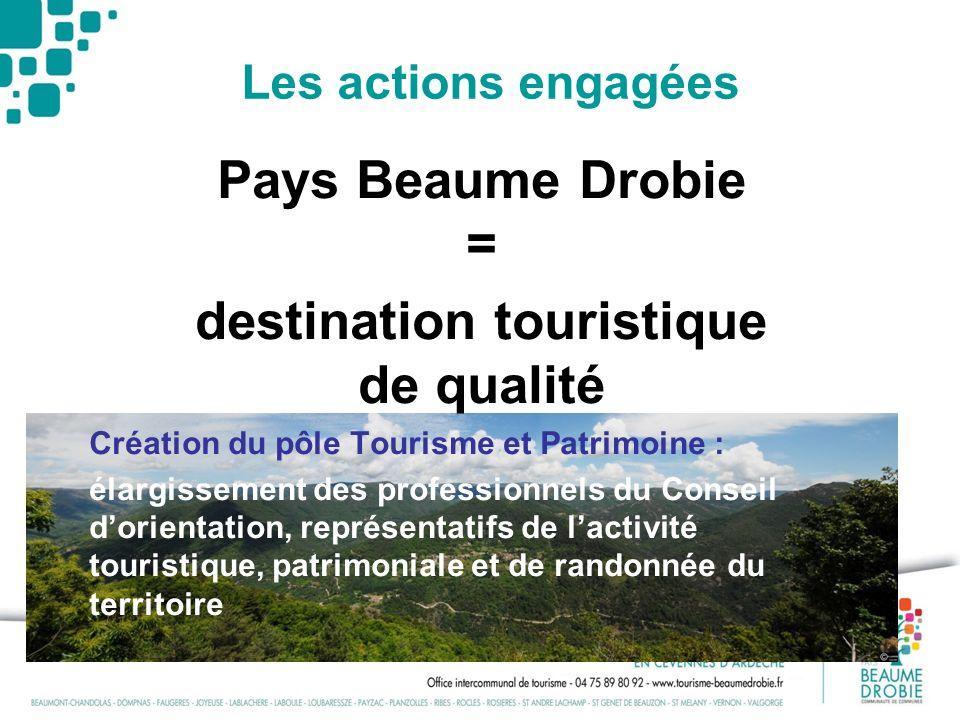 Les actions engagées Pays Beaume Drobie = destination touristique de qualité Création du pôle Tourisme et Patrimoine : élargissement des professionnel