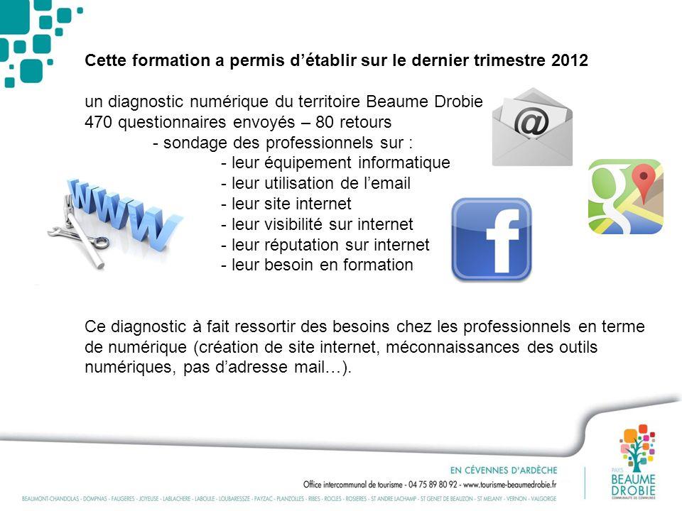 Cette formation a permis détablir sur le dernier trimestre 2012 un diagnostic numérique du territoire Beaume Drobie 470 questionnaires envoyés – 80 re