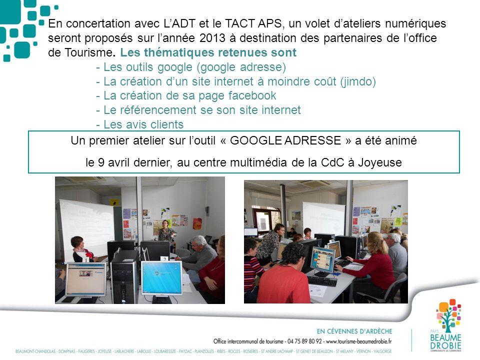 En concertation avec LADT et le TACT APS, un volet dateliers numériques seront proposés sur lannée 2013 à destination des partenaires de loffice de To