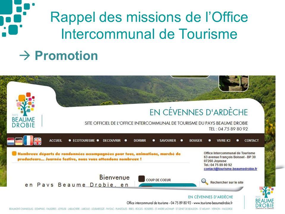 Rappel des missions de lOffice Intercommunal de Tourisme Promotion