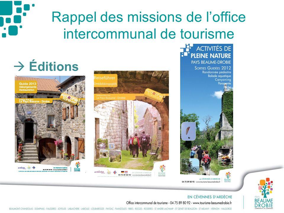 Rappel des missions de loffice intercommunal de tourisme Éditions