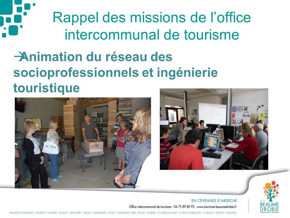Rappel des missions de loffice intercommunal de tourisme Animation du réseau des socioprofessionnels et ingénierie touristique